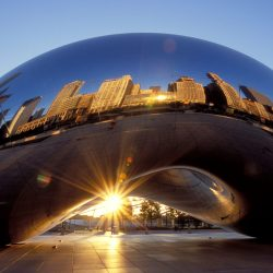 AKWRMT Sunrise at Cloud Gate or the Bean in Millenium Park Chicago Illinois